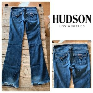 Womens Hudson Boot Cut Pocket Flap Denim Blue